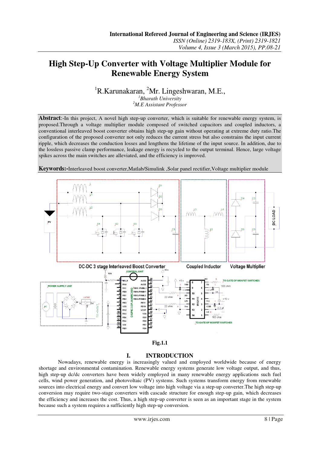 High Step Up Converter With Voltage Multiplier Module For Renewable Power Supplies And Regulators Lowvoltages Heaters Energy System By Irjes Com Issuu