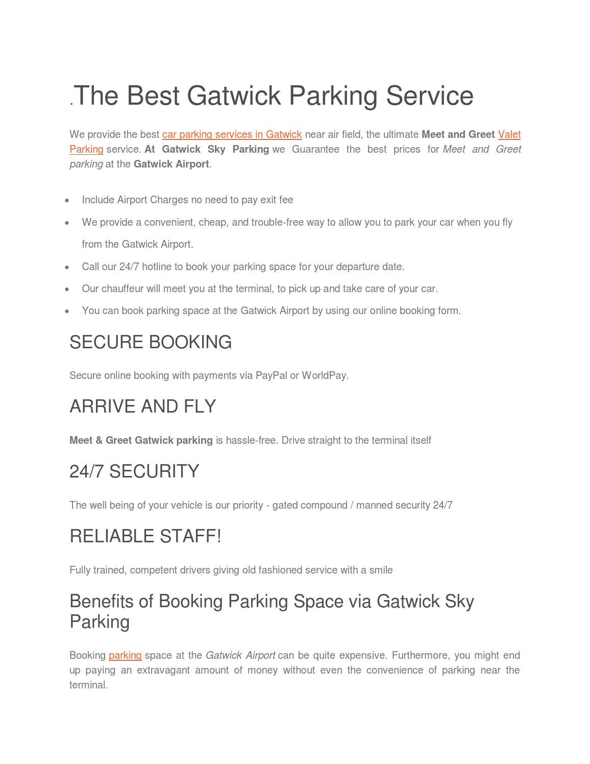 Gatwick Sky Parking By Lilyjames391 Issuu