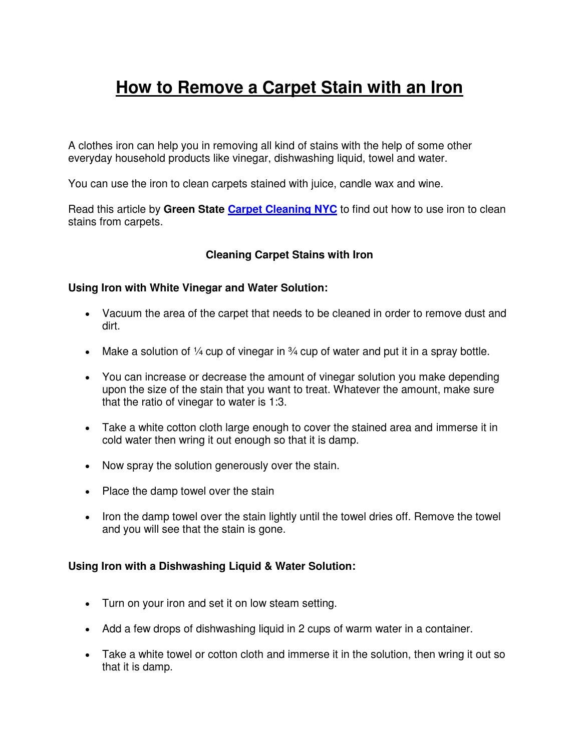 How to remove a carpet stain with an iron by Green State Carpet Cleaning NYC - issuu