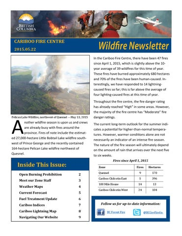 Cariboo Fire Centre May Wildfire Newsletter By Page Admin Issuu