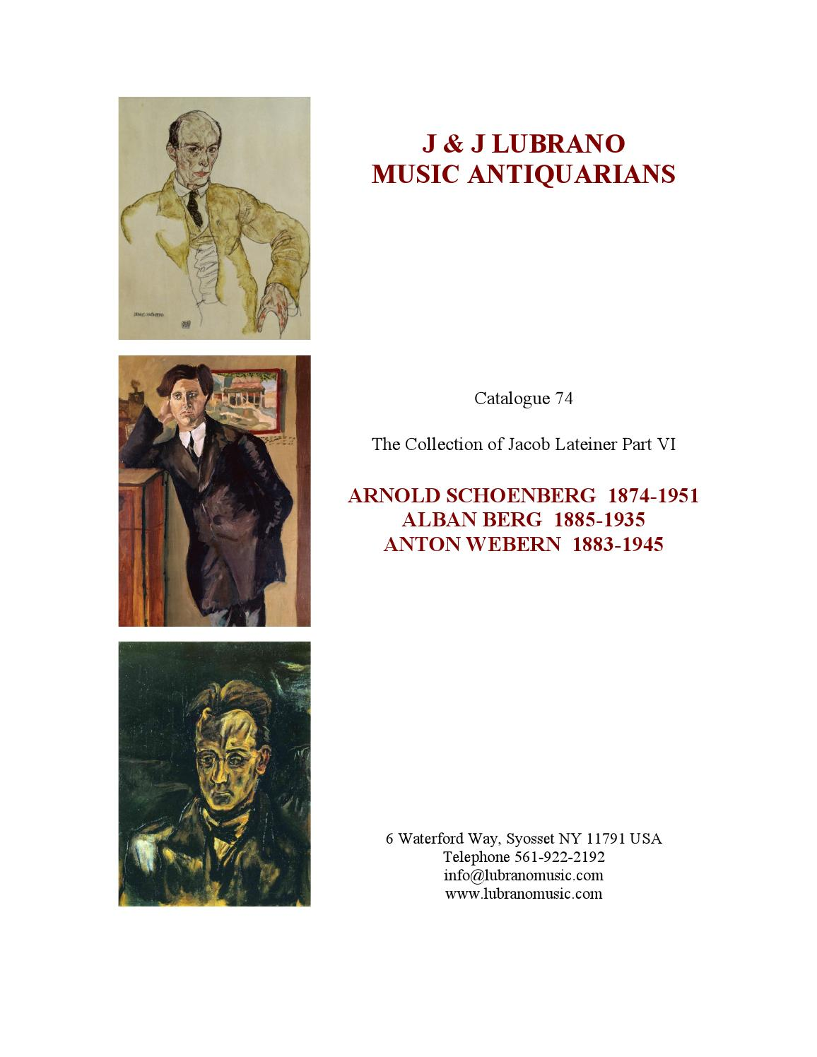 The Jacob Lateiner Collection Part Vi Schoenberg Berg