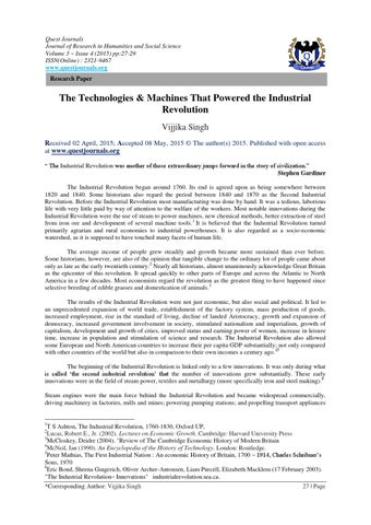 research paper on the industrial revolution