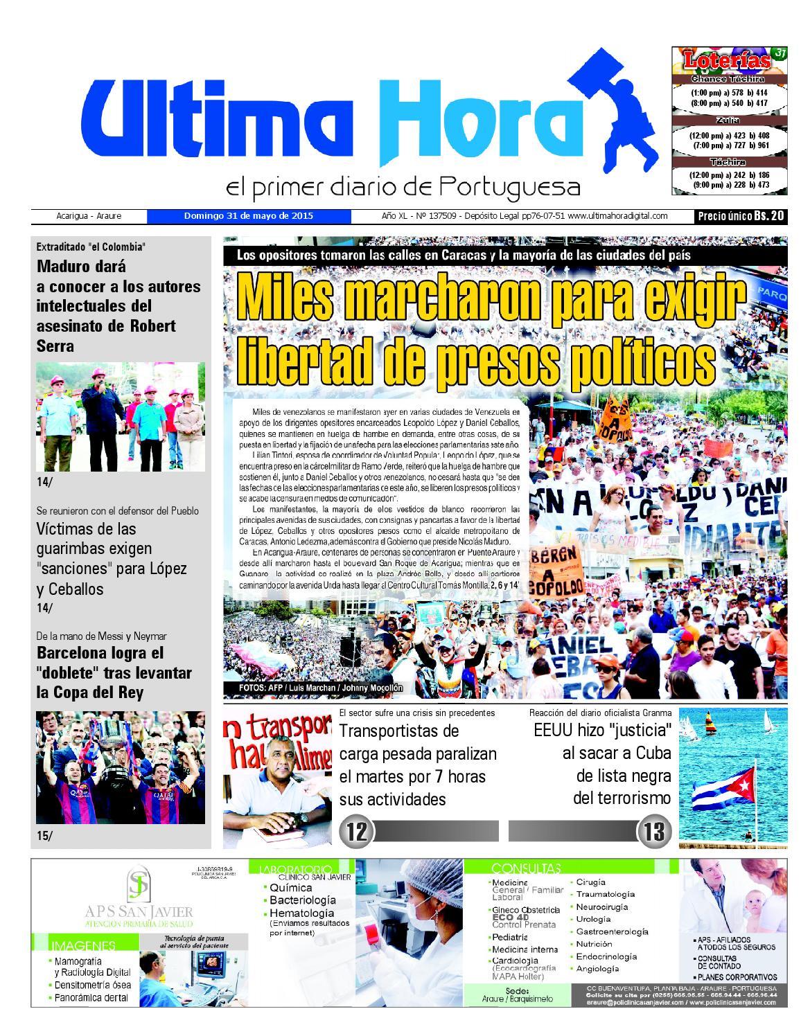 Edicion31 05 2015 by Ultima Hora - El primer diario de Portuguesa ...