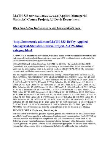 Math 533 Uop Course Devry Applied Managerial Statistics Course Project Aj Davis Department Homewo