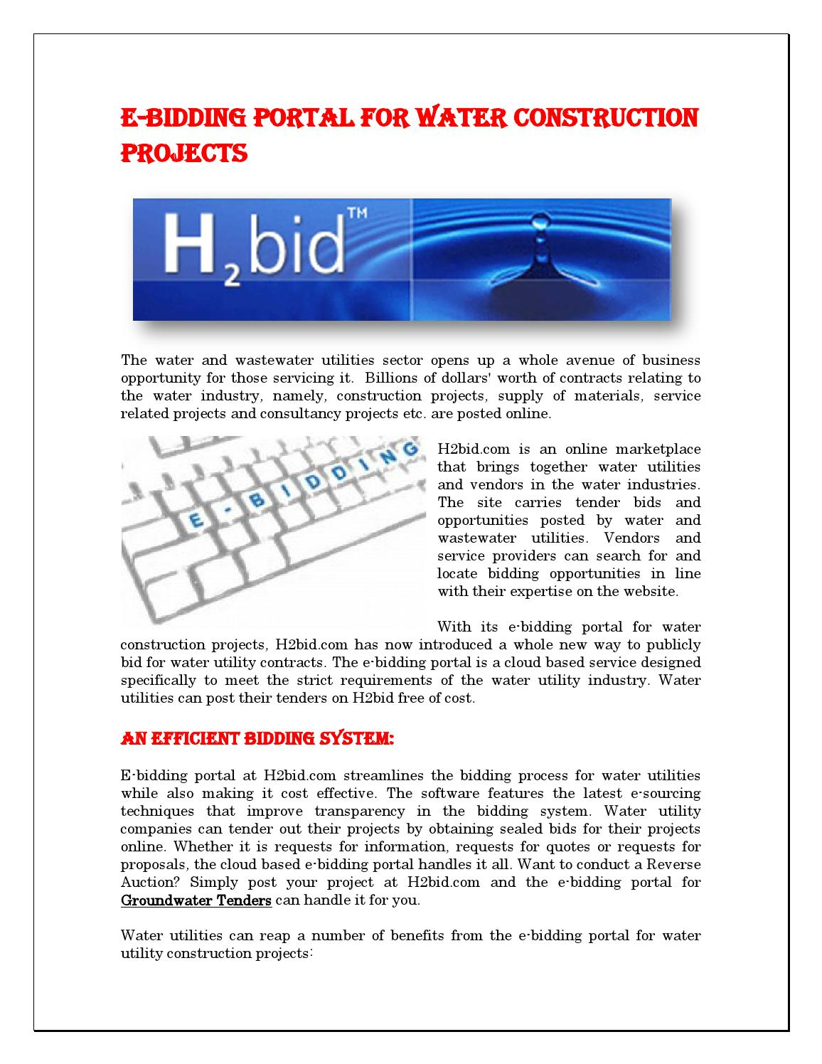 ebidding portal for water construction projects by waterbid issuu
