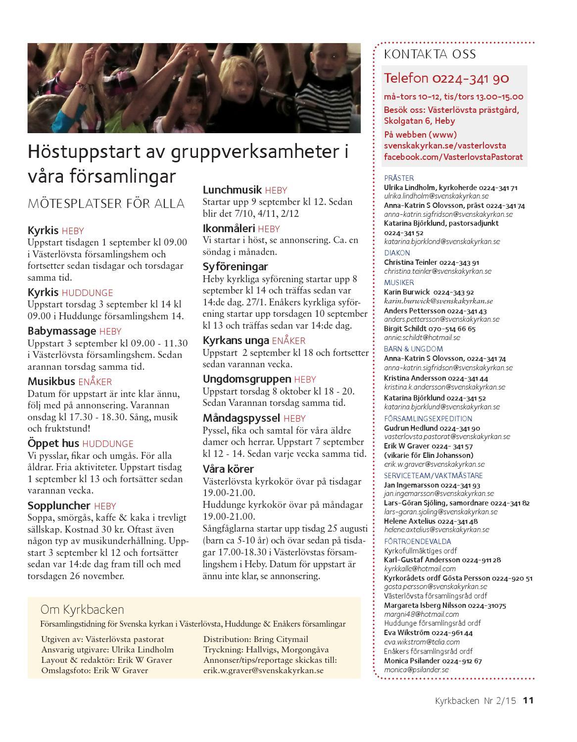 Ideellt arbete - Vsterlvsta pastorat - Svenska kyrkan