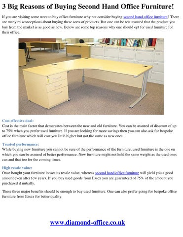 3 Big Reasons Of Buying Second Hand Office Furniture By