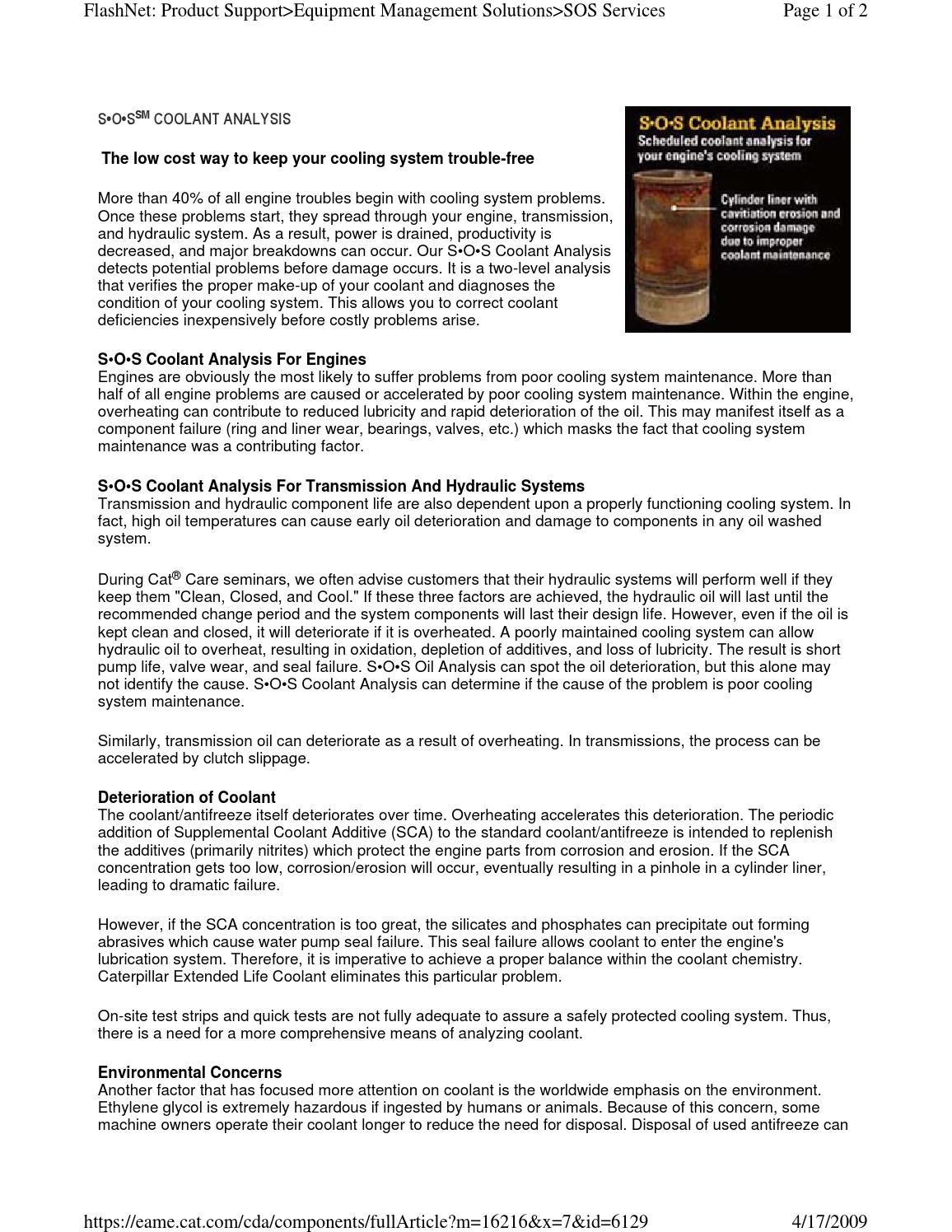 Sos Coolant Analysis By Michigan Cat Issuu Caterpillar Engine