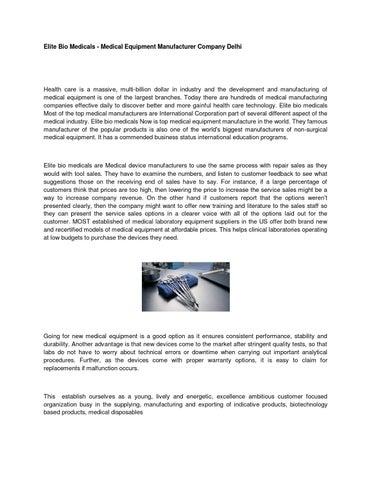 Elite Bio Medicals - Medical Equipment Manufacturer Company