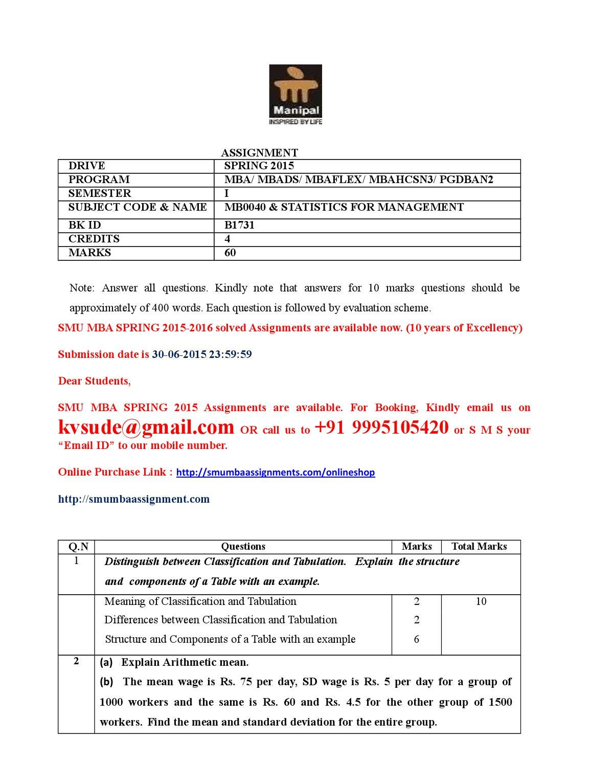 mb0040 smu mba About smu mba assignments - smu mba assignments smu (sikkim manipal university) de bba (bachelor of business administration)/mba (master of business administration)/pgdba (post graduate diploma in business administration) solved assignments january 9, 2013 et0009 [event management.