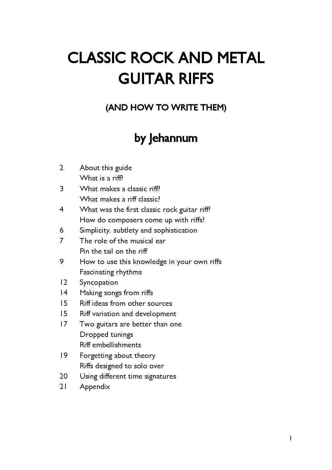Classic Rock And Metal Guitar Riffs And How To Write Them By Peter