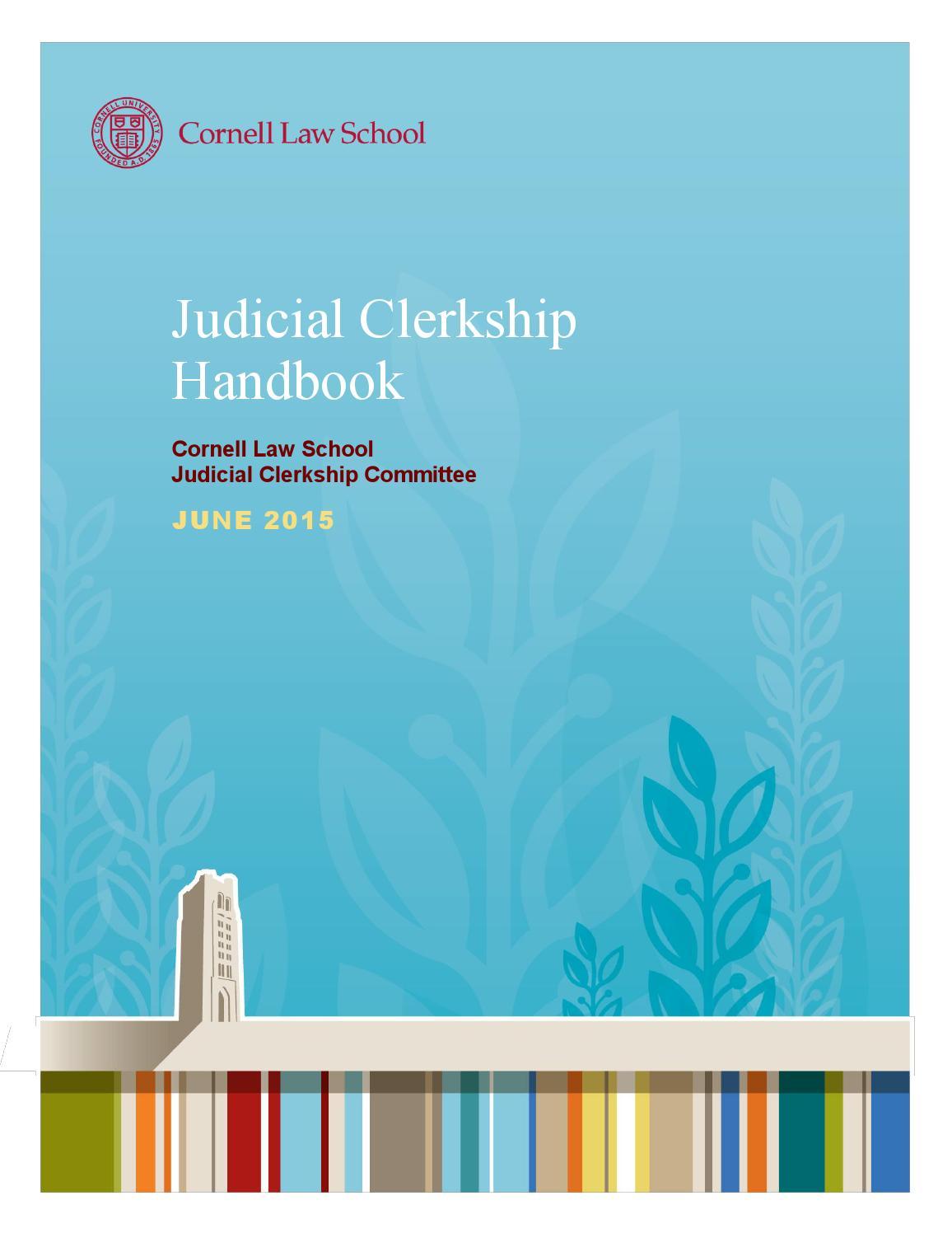 judicial clerkship handbook june 2015 by cornell law