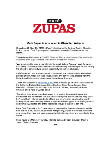 Cafe Zupas Is Now Open In Chandler Arizona By Cafe Zupas Issuu