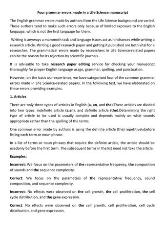 order life science term paper