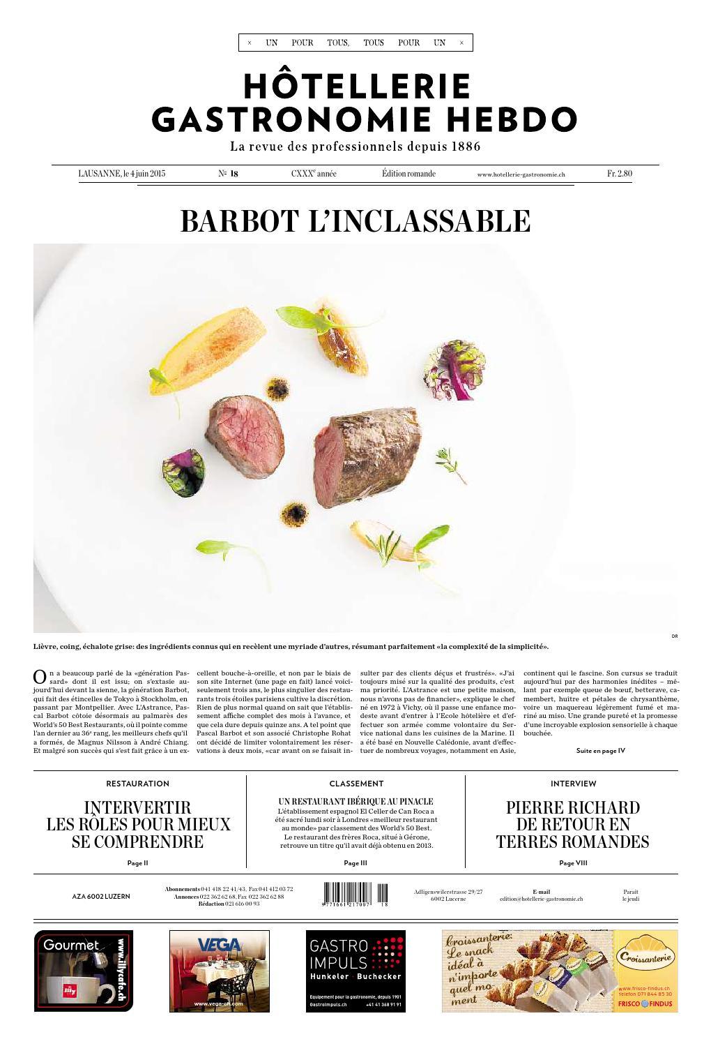 HG Hebdo 18 2015 By Hotellerie Gastronomie Verlag