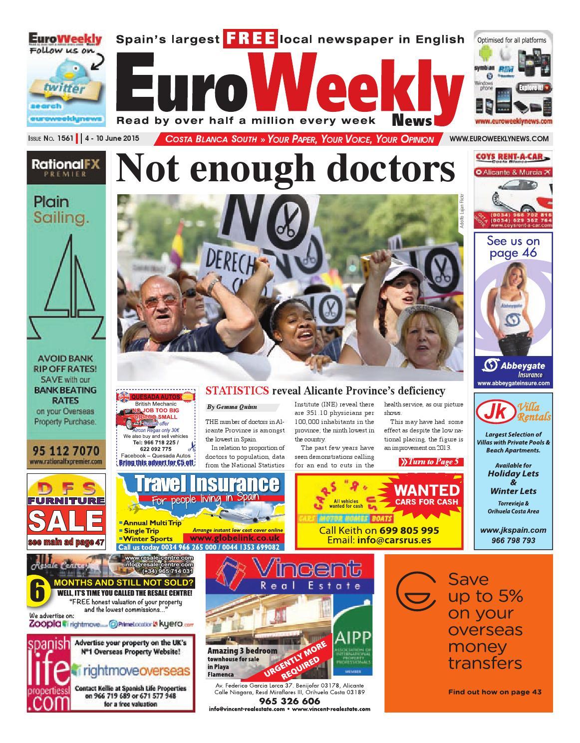 Euro Weekly News Costa Blanca South 4 10 June 2015 Issue 1561  # Muebles Lozano Elda Sofas
