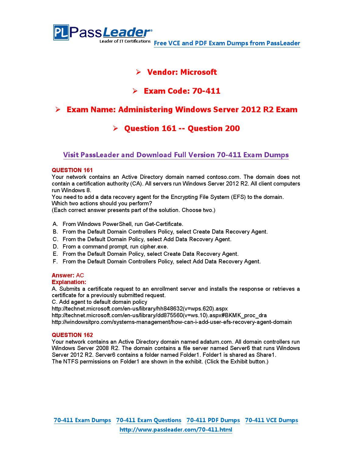 Oct. -2016-new]70-411 exam dumps (pdf & vce) 445q(28-34). Pdf by.