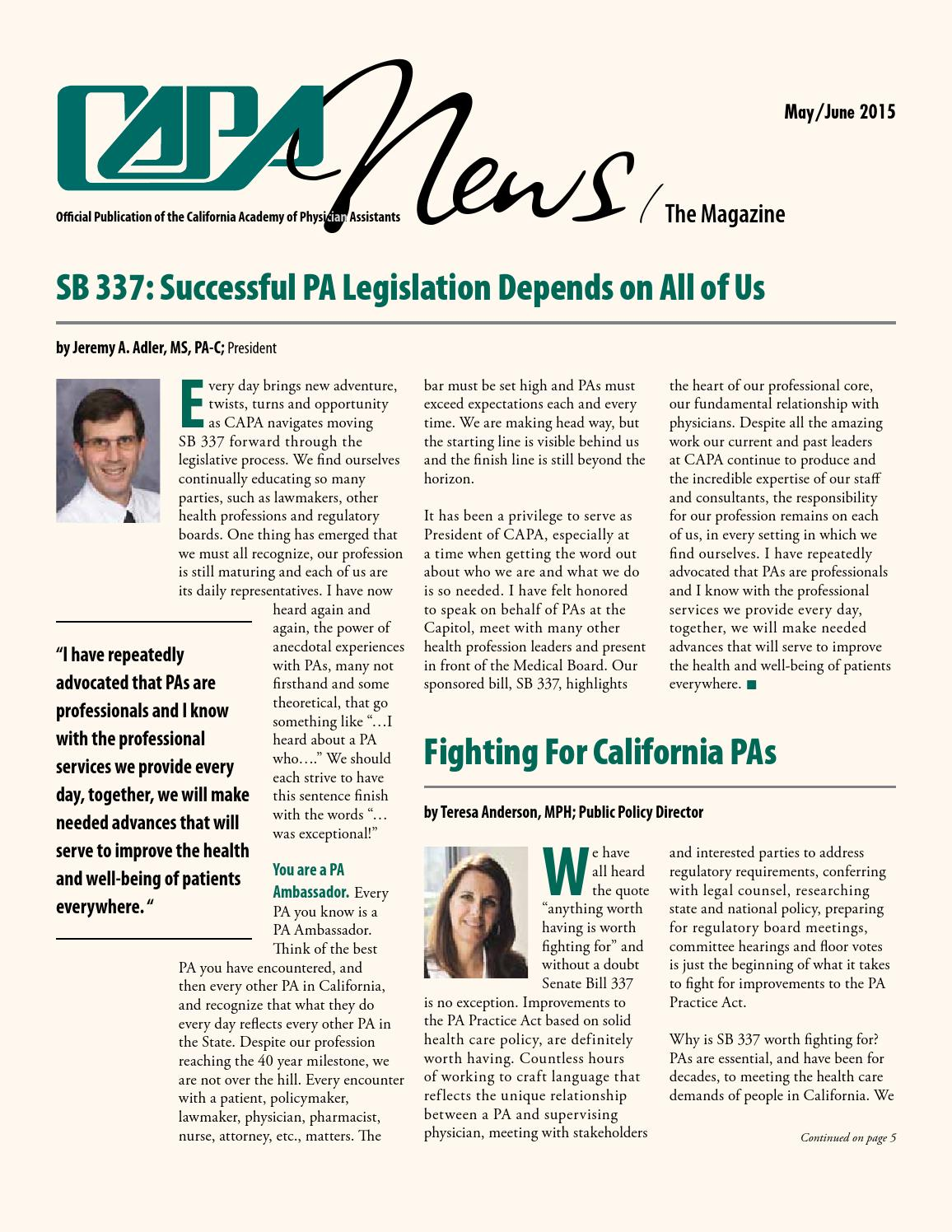 CAPA News May/June 2015 by CA Academy of PAs - issuu