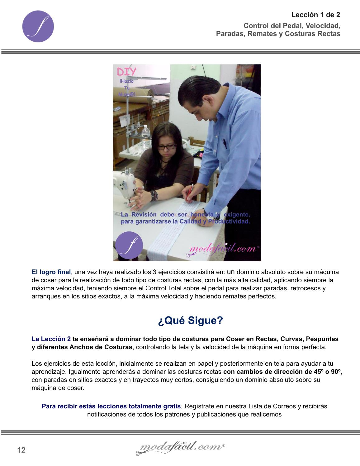 Manual de ejercicios para aprender a coser - lección 1 de 2 by ...