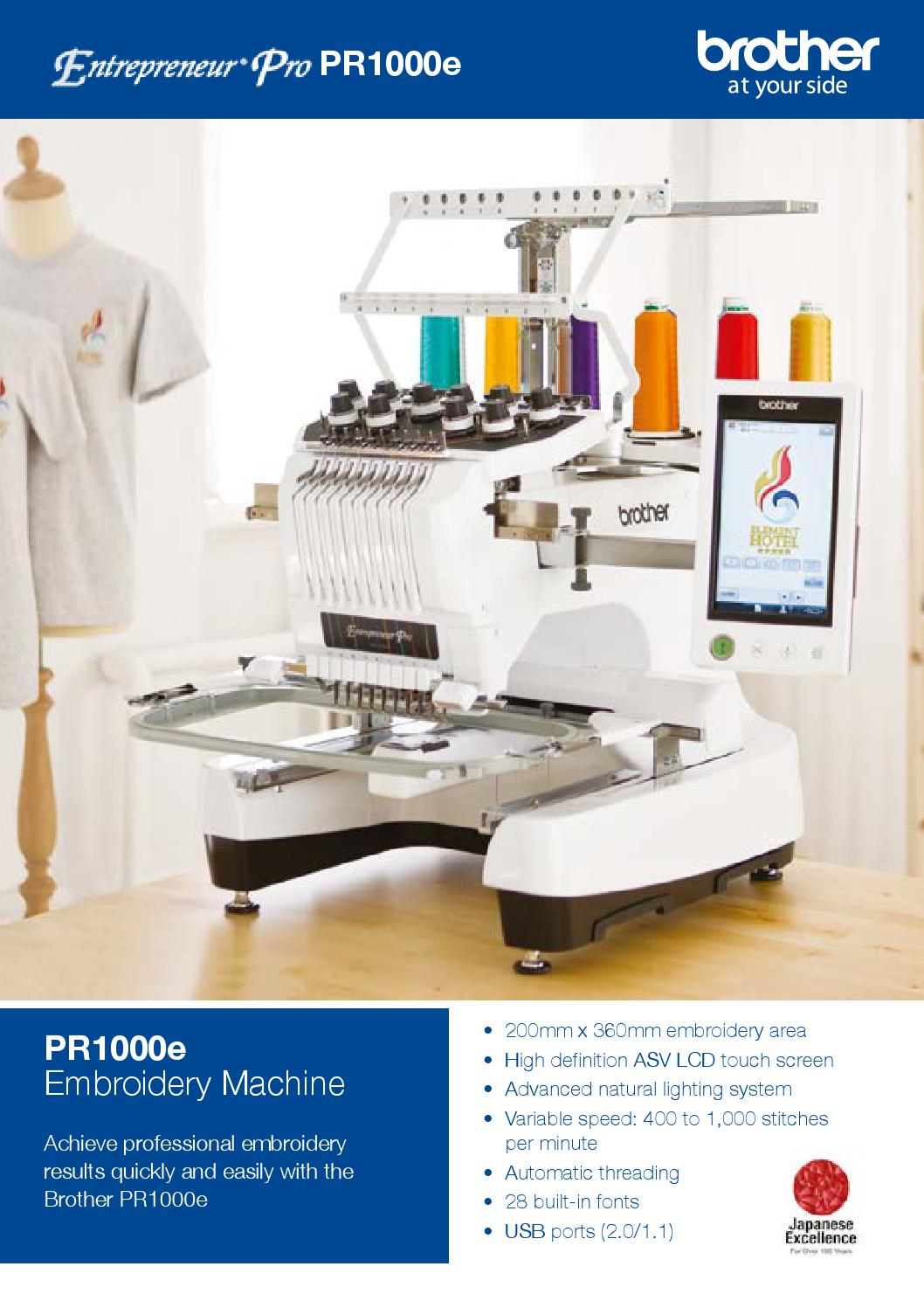Brother Pr Entrepreneur Pro Pr1000e Embroidery Machine By Brother Issuu