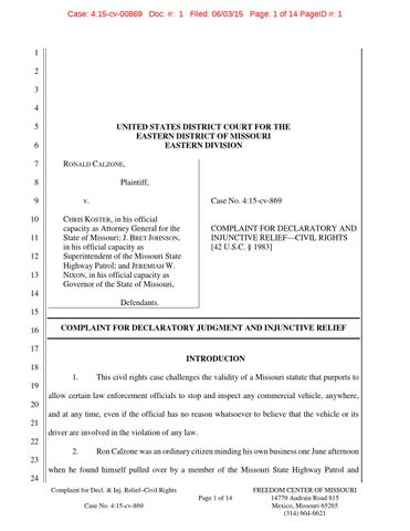 Calzone V Koster E D Mo Federal Complaint By David