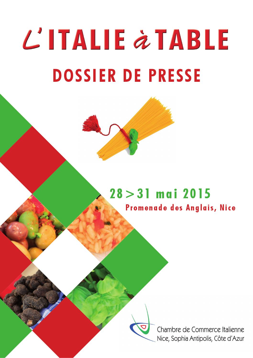 L 39 italie table 2015 dossier de presse by chambre de for Chambre de commerce italienne nice