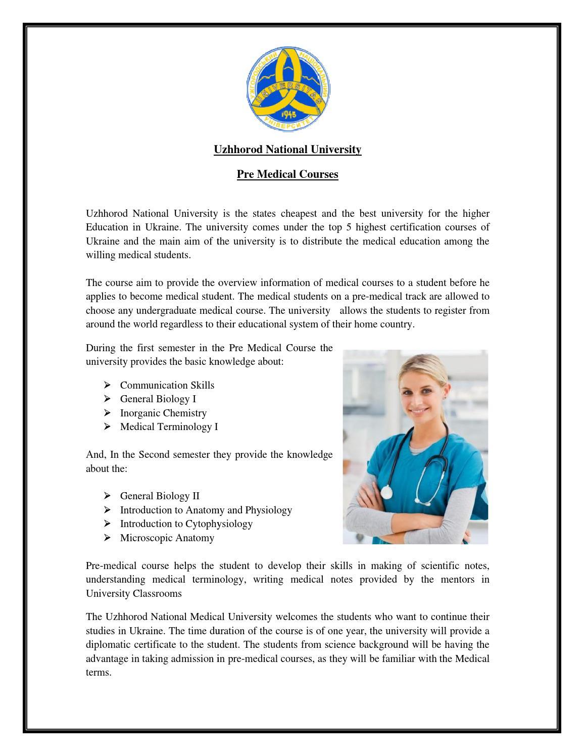 Uzhhorod national university pre medical courses pdf by