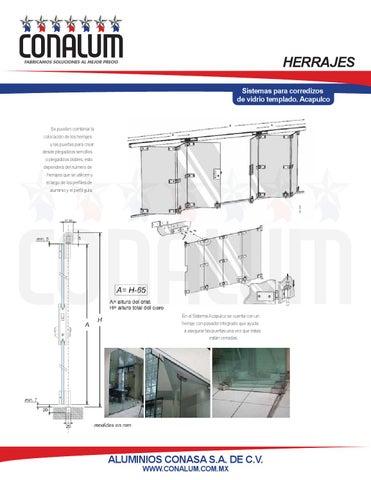 Sistemas para corredizos de vidrio templado by conalum issuu for Herrajes para mamparas de cristal