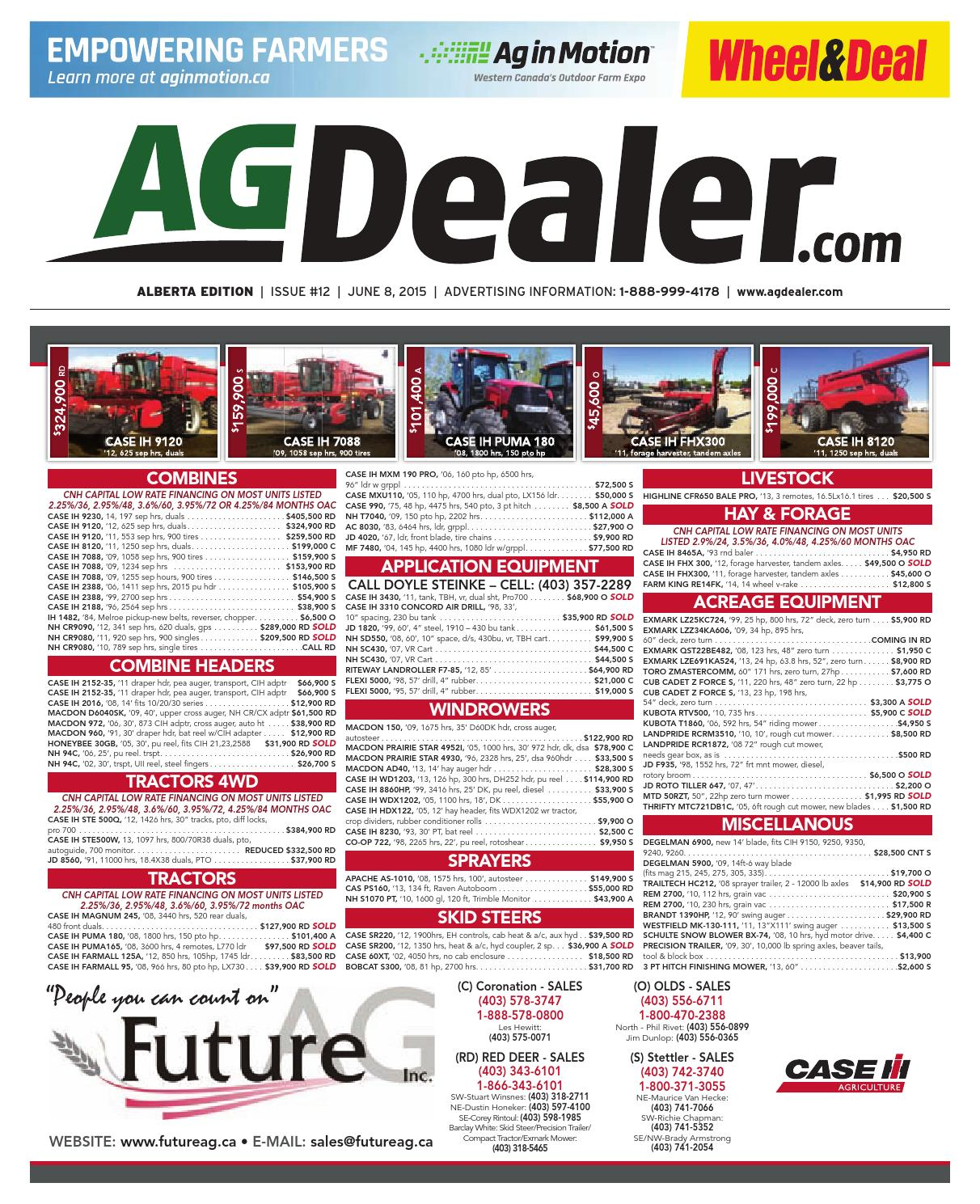 Wheel Amp Deal Alberta June 8 2015 By Farm Business Deere 4440 Tractor Wiring Diagram On 2003 Kia Sorento Parts Communications Issuu