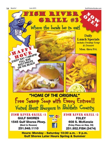 Beachin 39 june 2015 by gulf coast media issuu for Fish river grill gulf shores