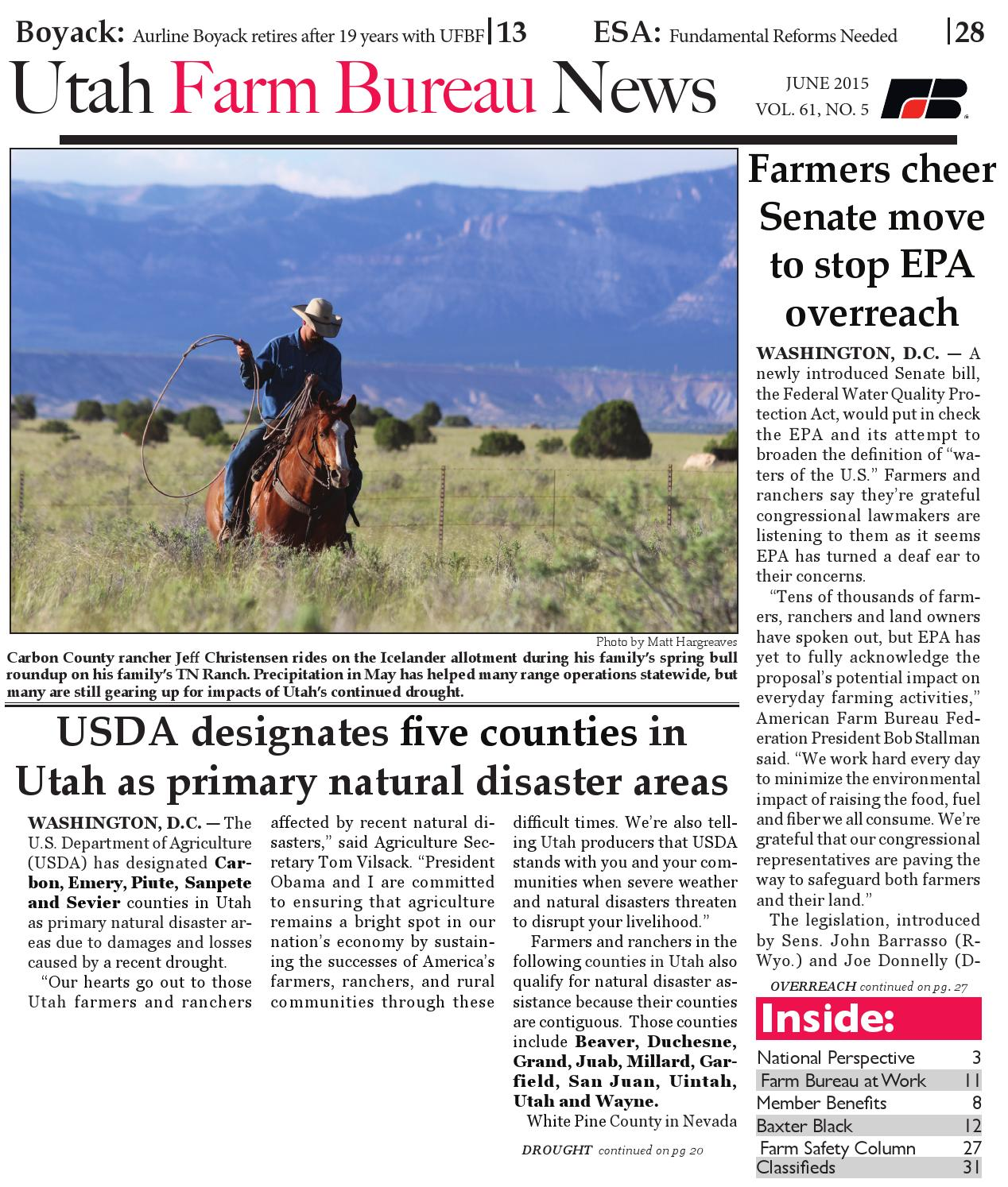 Utah Farm Bureau News - June 2015 by Utah Farm Bureau