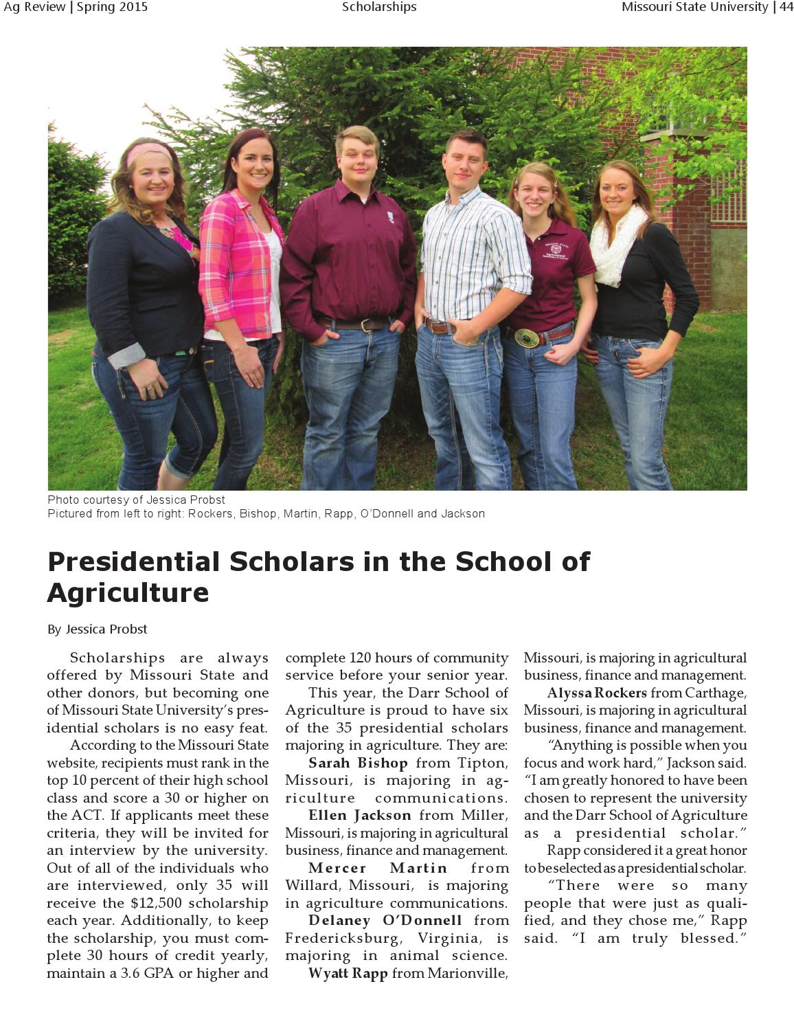 Fall 2014 Ag Review, Volume 33 by Missouri State University
