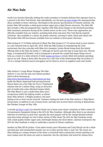 2a05ec7b31a Air Max Sale words Luis Sanchez Basically striking the roads nowadays is  Carmelo Anthony first signature boot as a person in the New York Knicks.