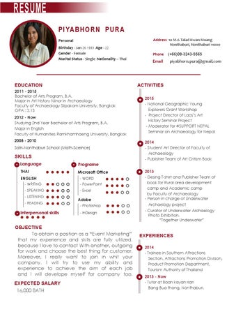Resume En Th By Piyaporn Pura Issuu