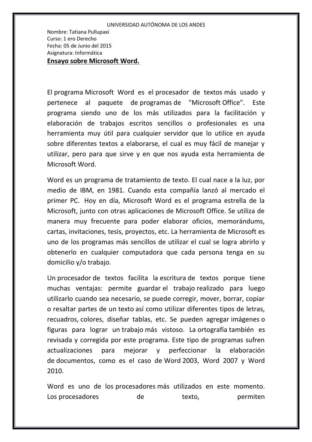 Ensayo sobre microsoft word by TatianaPullupaxi - Issuu