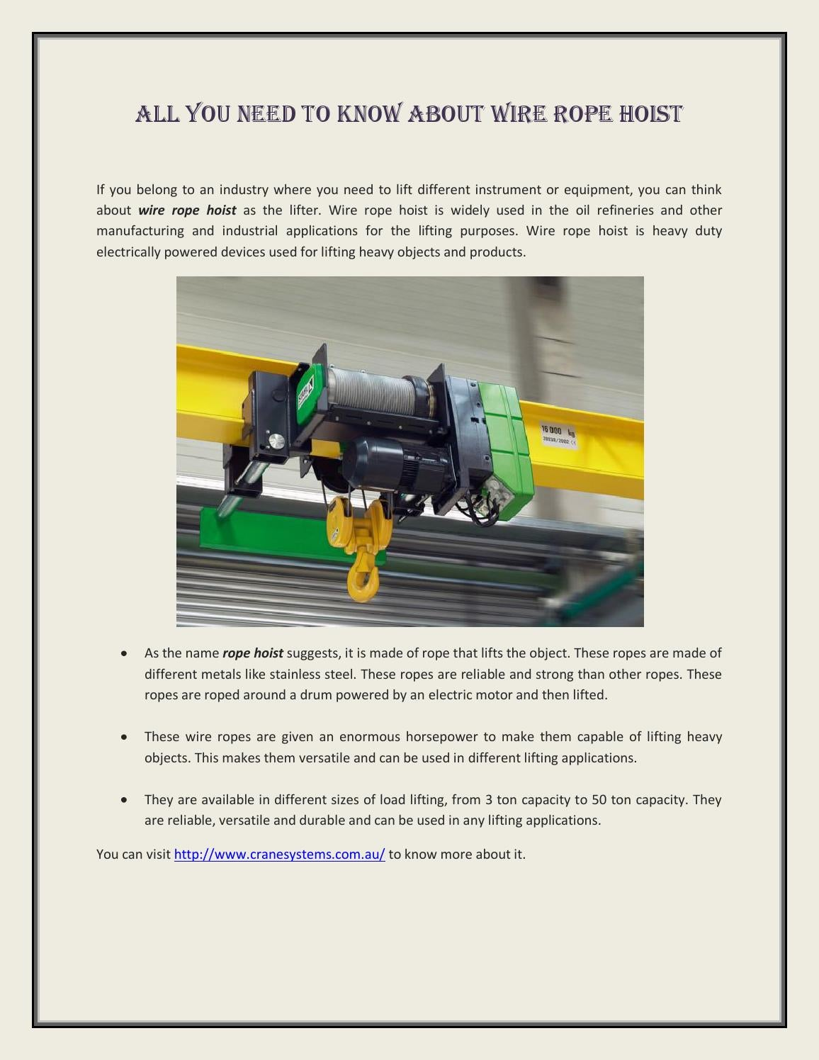 Wire rope hoist all you need to know about by gantrycraneservice - issuu