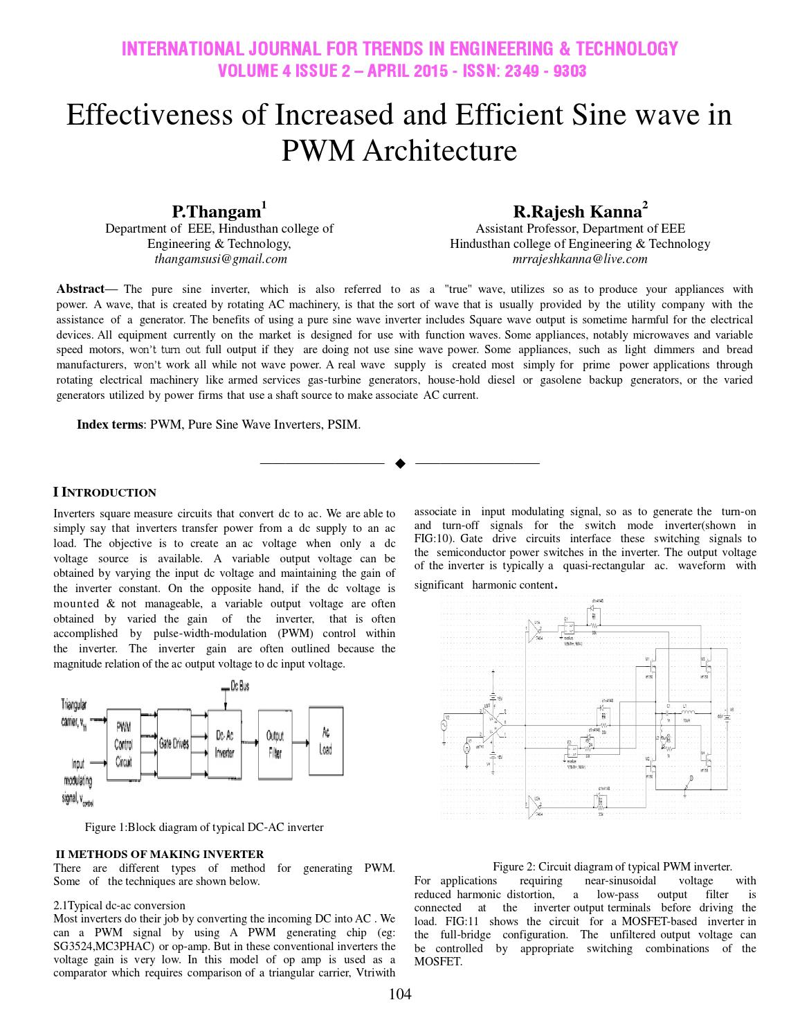 Effectiveness of Increased and Efficient Sine wave in PWM