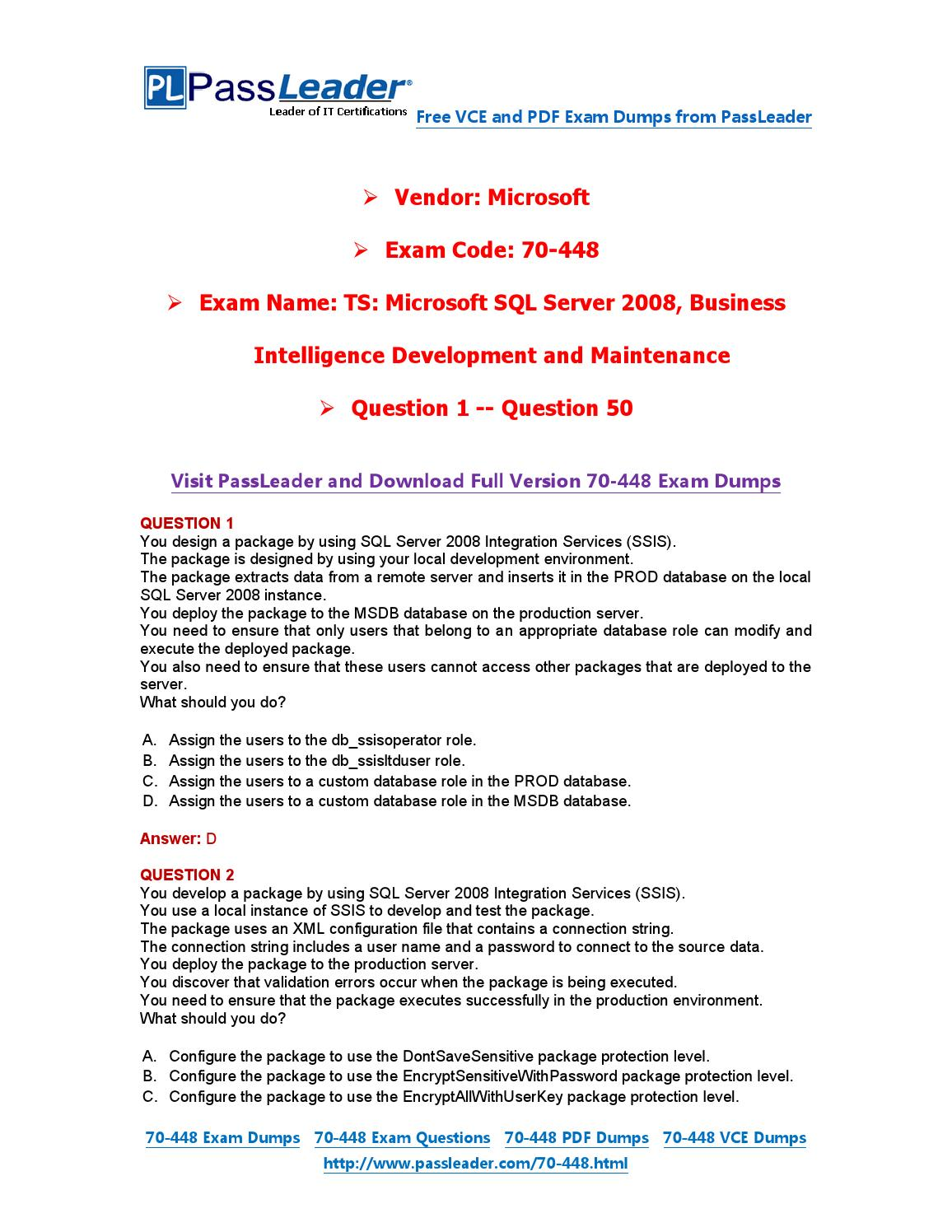70 448 Exam Dumps With Pdf And Vce Download 1 50 By Passleader Issuu