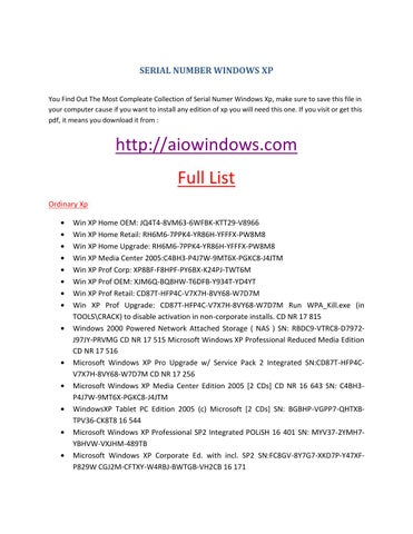 window xp sp2 product key list