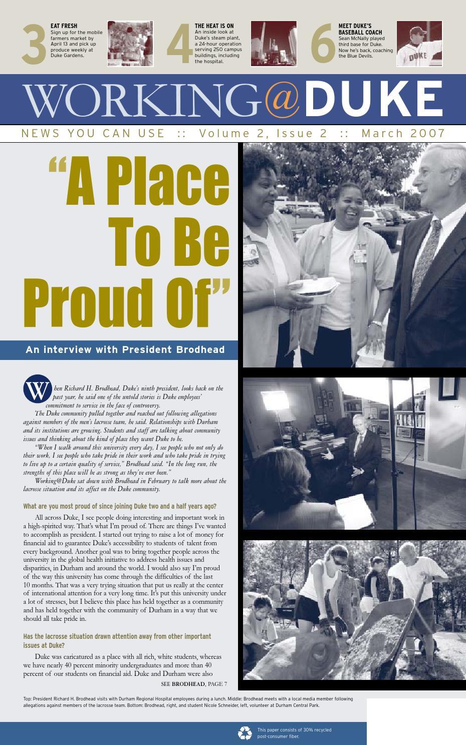 March, 2007 Working@Duke by Working Duke - issuu