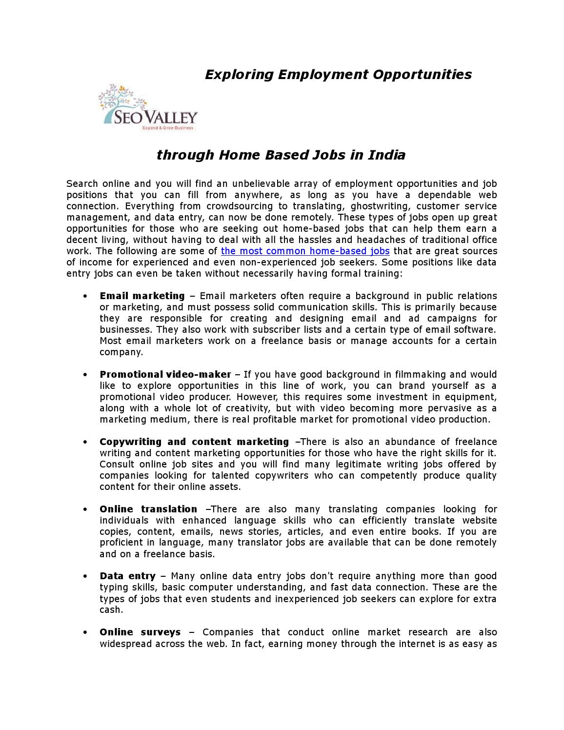 Exploring Employment Opportunities through Home Based Jobs in India