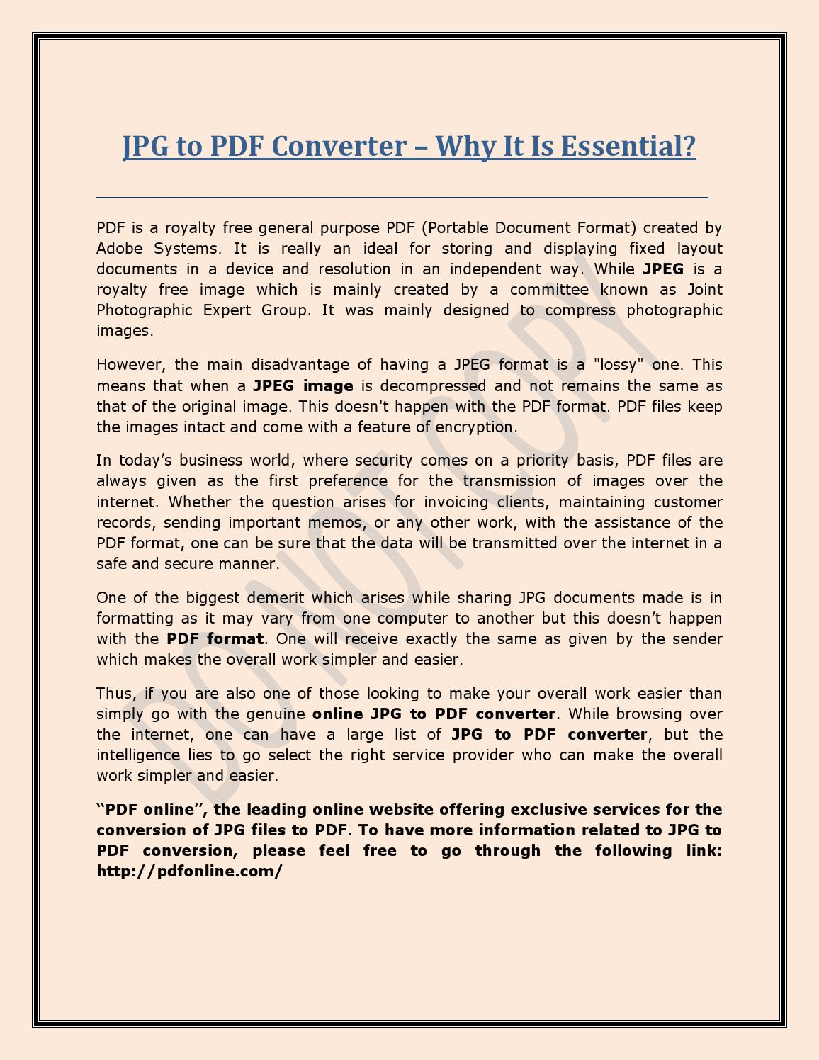 Jpg to pdf converter – why it is essential by Maria Watson