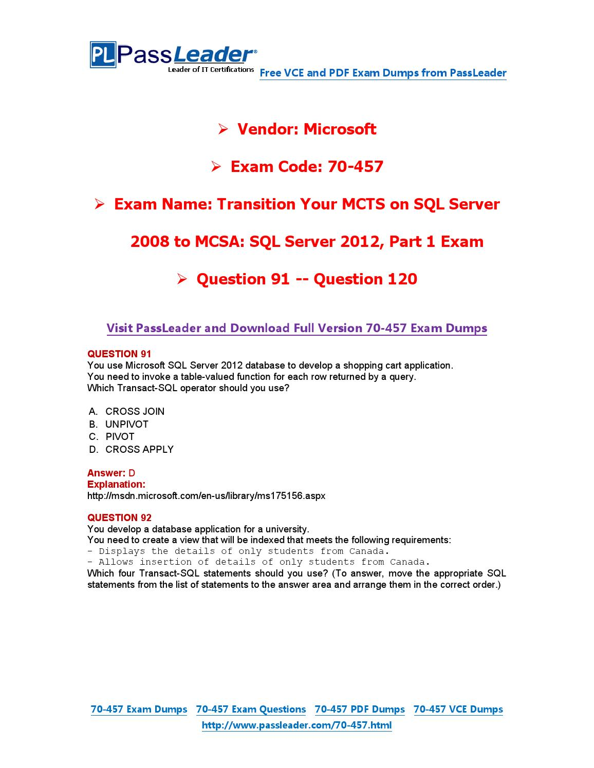 70-457 Exam Dumps with PDF and VCE Download (91-120) by ...