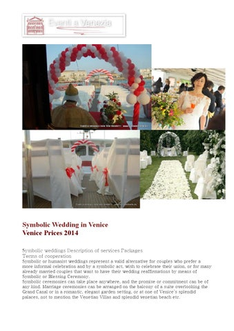 Symbolic Wedding In Venice Prices 2014 Weddings Description Of Services Packages Terms Cooperation Or Humanist
