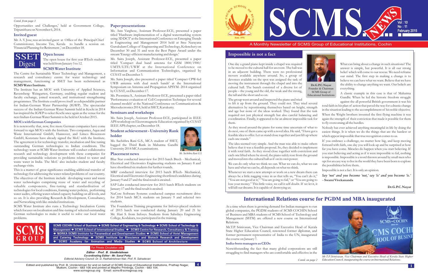 Scms news feb 2015 by SCMS Cochin School of Business - issuu