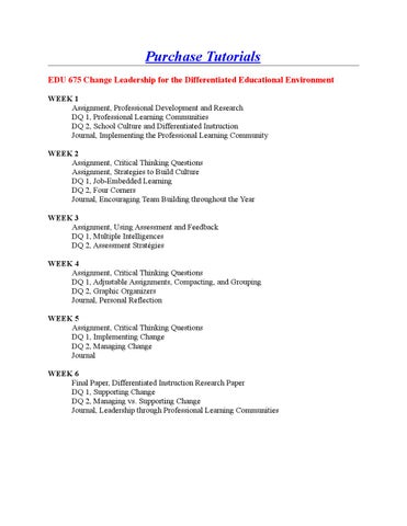 Edu 675 Change Leadership For The Differentiated Educational