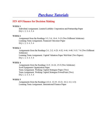 Fin 419 assignments from the readings