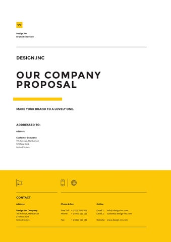 Page 1. Design.  Proposal Cover Page Design