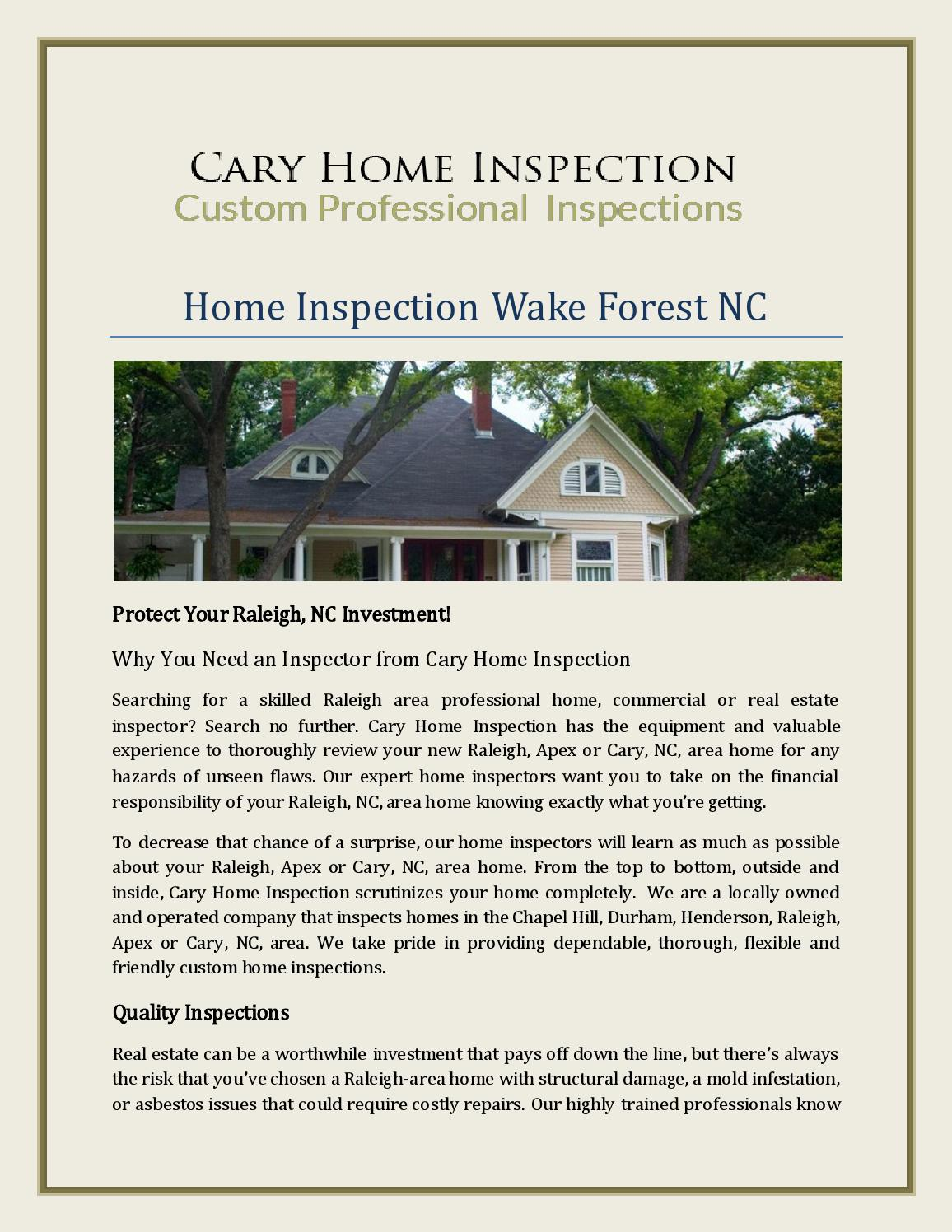 Home Inspection Wake Forest Nc By Caryhomeinspectors Issuu