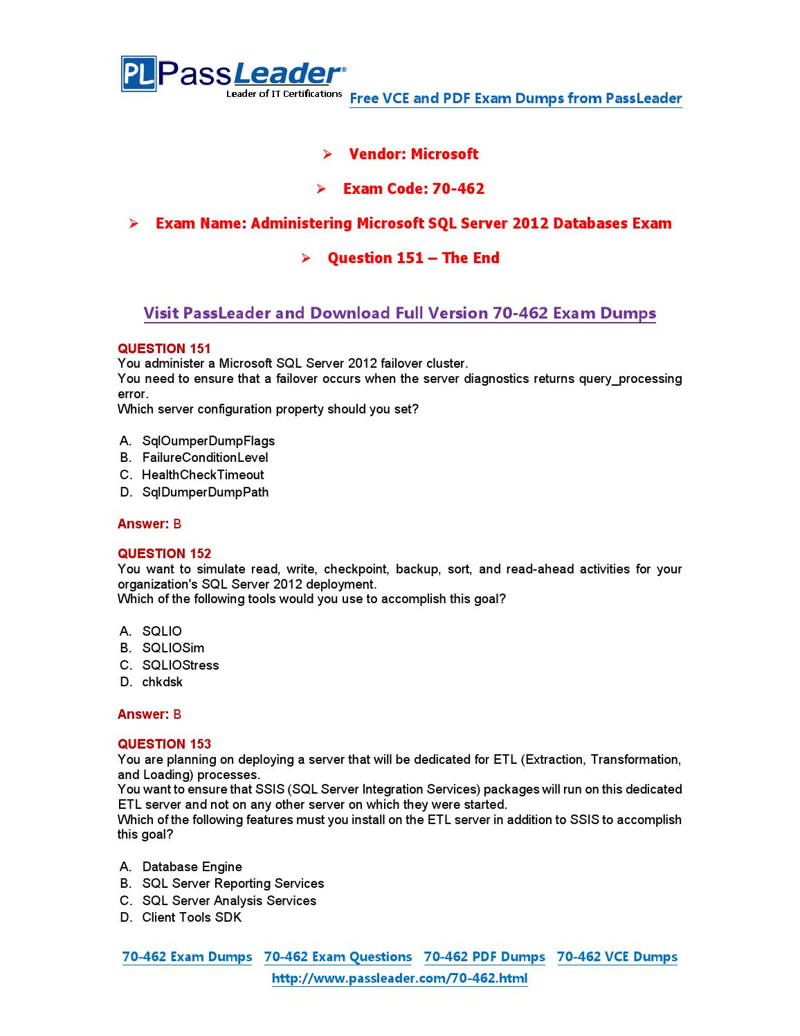70 462 Exam Dumps With Pdf And Vce Download 151 End By Passleader